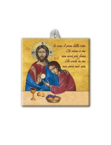 Piastrella di Gesù con San...