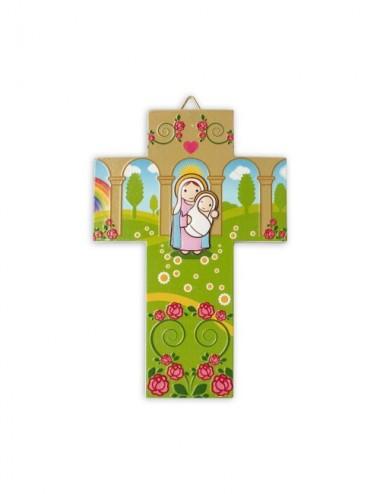 Croce in resina con Maria e...